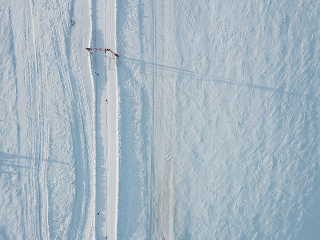 Vista superior aérea do espaço de cópia do teleférico de manche