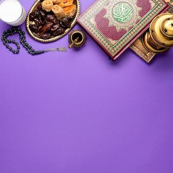Vista superior ano novo arranjo islâmico