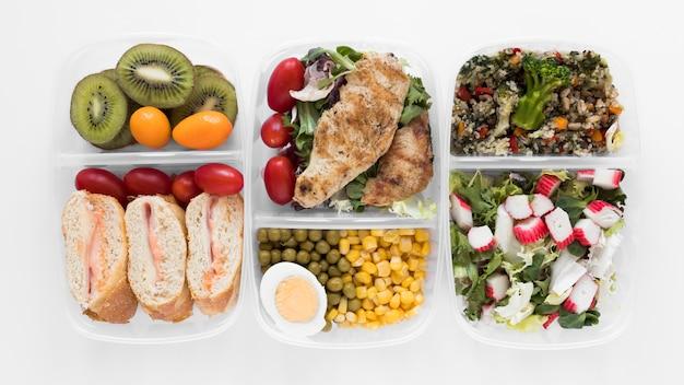 Vista superior arranjo de alimentos nutritivos