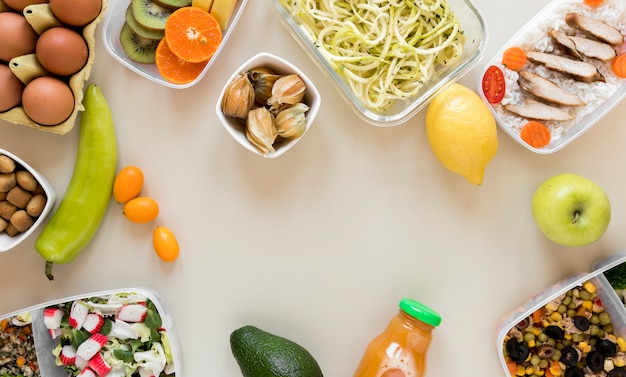 Vista superior arranjo nutritivo refeição