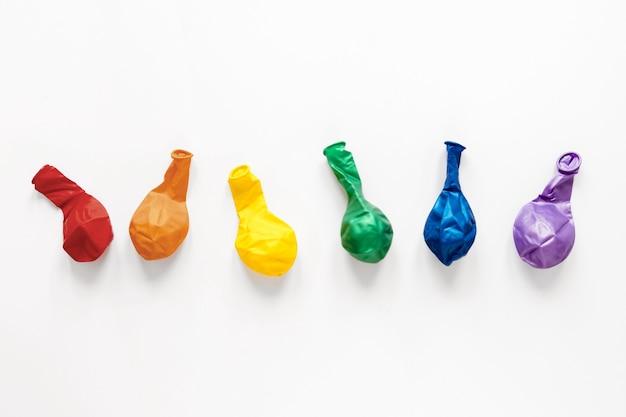Vista superior balões coloridos