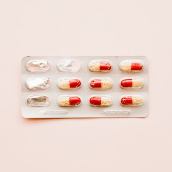 Vista superior, bolha, de, pílulas