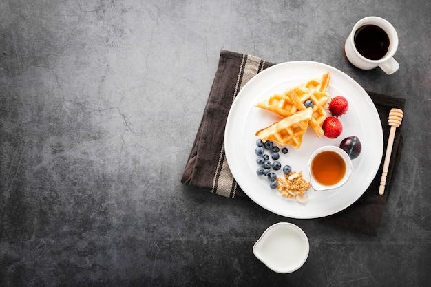 Vista superior café da manhã saudável