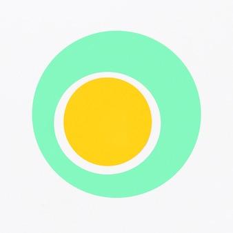Vista superior círculo amarelo dentro do círculo