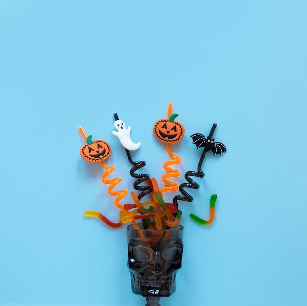 Vista superior coleção de elementos de halloween