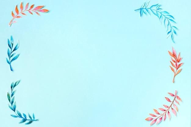 Vista superior coleção de folhas com espaço de cópia