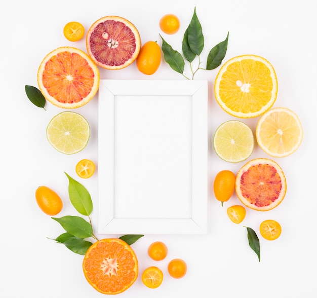 Vista superior coleção de frutas orgânicas