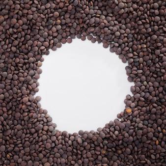 Vista superior coleção de lentilhas com espaço de cópia