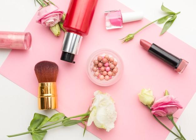 Vista superior coleção de produtos de beleza orgânicos