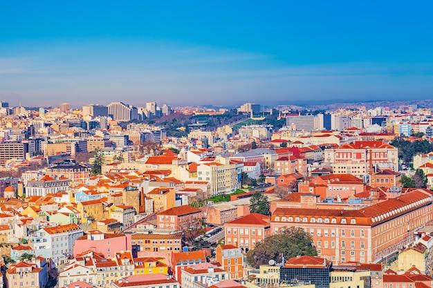 Vista superior colorida de lisboa, portugal Foto Premium