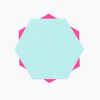 Vista superior colorido hexágono de papel