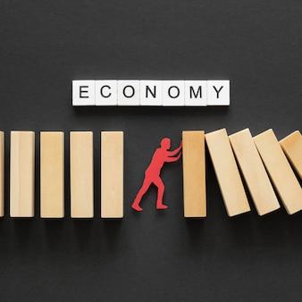 Vista superior composição abstrata da crise financeira