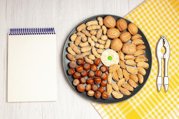 Vista superior composição de nozes nozes frescas, amendoins e avelãs dentro da placa na mesa branca, porca, muitas árvores, planta, lanche, casca