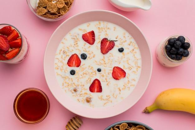 Vista superior conceito de café da manhã