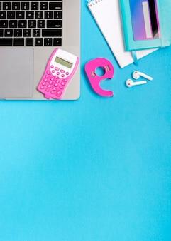 Vista superior conceito de compras online