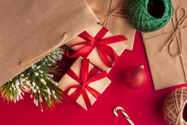 Vista superior conceito de decoração de natal