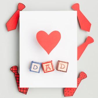 Vista superior conceito de dia dos pais com coração