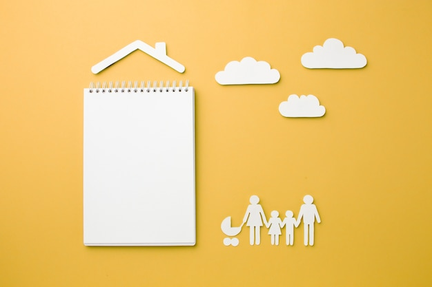 Vista superior conceito de figura de família