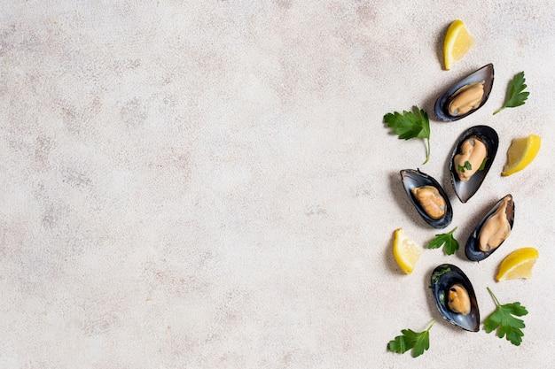 Vista superior conchas de mexilhão com salsa