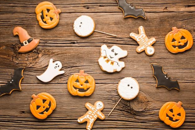 Vista superior conjunto de biscoitos de halloween