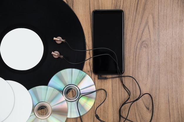Vista superior conjunto de música de dvd