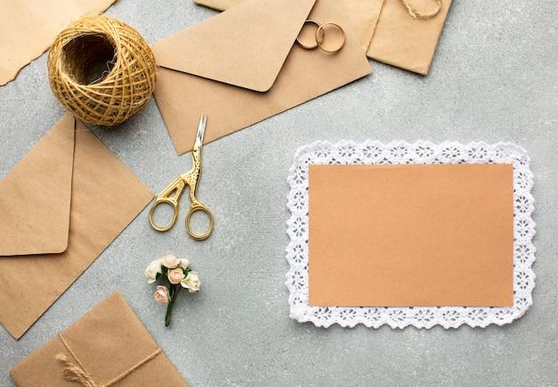 Vista superior cópia espaço conceito de beleza do casamento