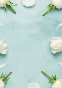 Vista superior cópia espaço frescas rosas flores e pétalas
