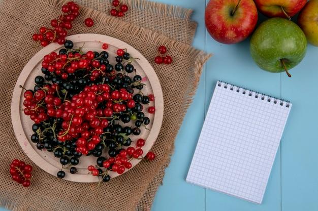 Vista superior cópia espaço vermelho com groselha preta num prato num guardanapo bege com um notebook sobre um fundo azul claro