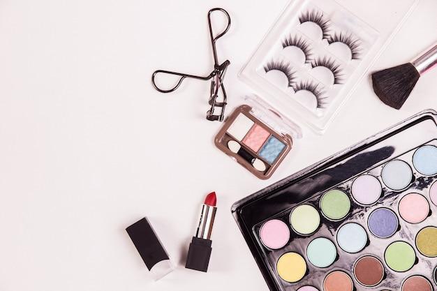 Vista superior cosmética beleza maquiagem