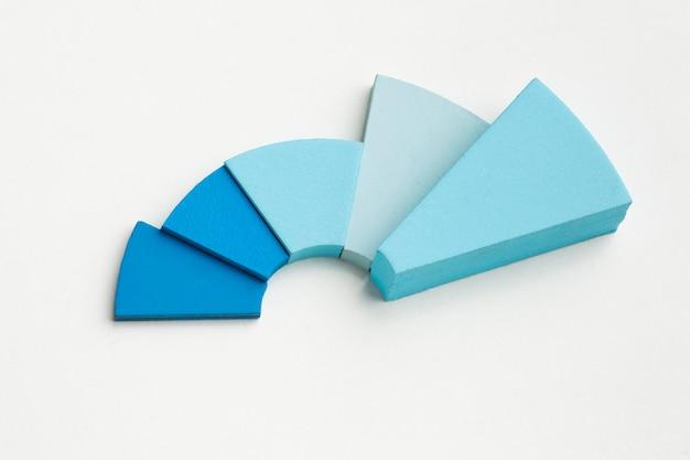 Vista superior da apresentação de estatísticas com gráfico de pizza