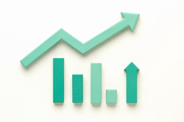 Vista superior da apresentação de estatísticas com seta