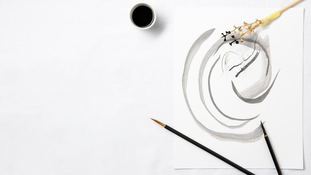 Vista superior da arte em tinta chinesa