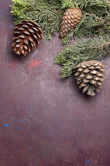 Vista superior da árvore de natal com cones no espaço escuro