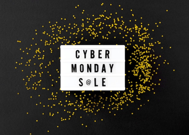 Vista superior da caixa de luz para cyber segunda-feira com glitter dourado