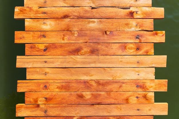 Vista superior da calçada de madeira à beira do lago
