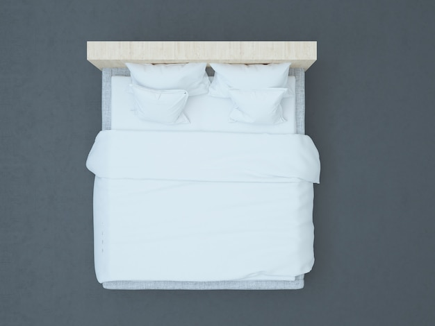 Vista superior da cama ideal para maquete