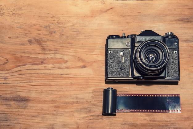 Vista superior da câmera vintage