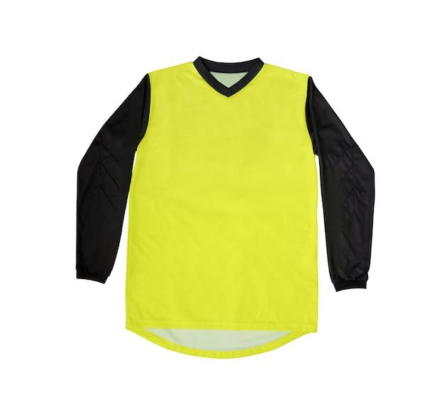 Vista superior da camisa esporte amarela com mangas compridas pretas isoladas no branco Foto Premium
