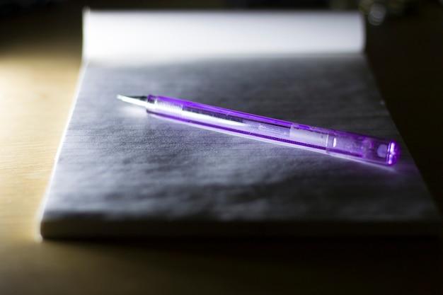 Vista superior da caneta no caderno aberto com páginas em branco, fundo desfocado.