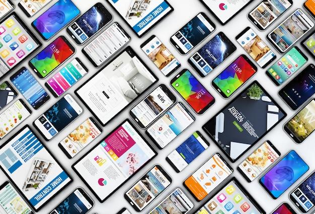 Vista superior da coleção de dispositivos