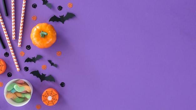 Vista superior da coleção de halloween com espaço de cópia