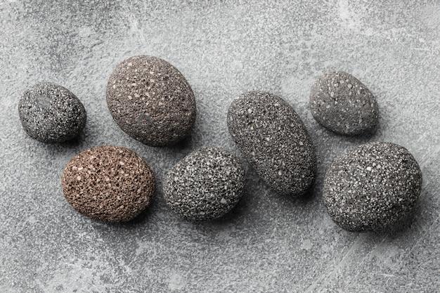 Vista superior da coleção de pedras