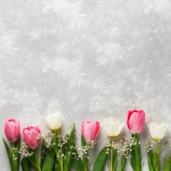 Vista superior da coleção de tulipas com espaço de cópia