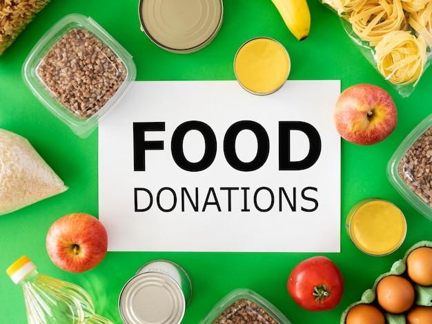 Vista superior da comida para doação