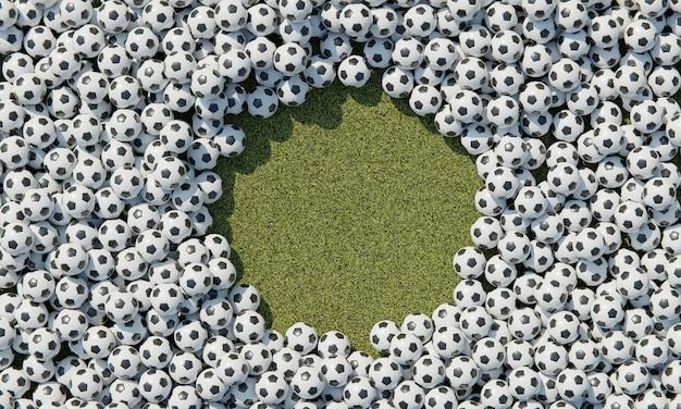 Vista superior da composição com bolas de futebol