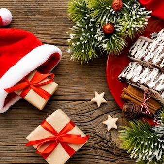 Vista superior da composição de deliciosas sobremesas de natal