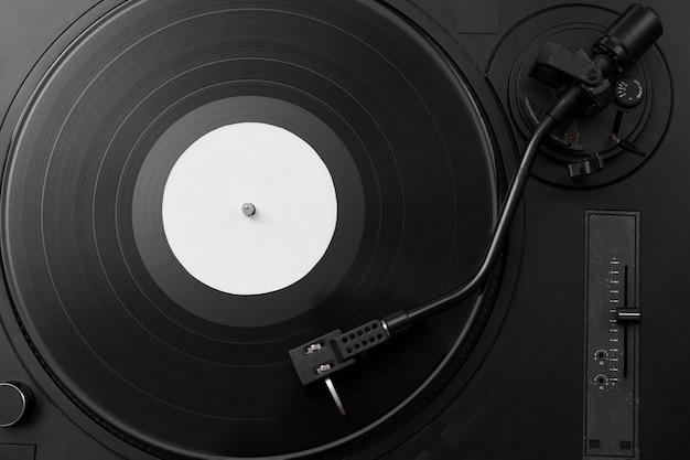 Vista superior da composição do disco de vinil