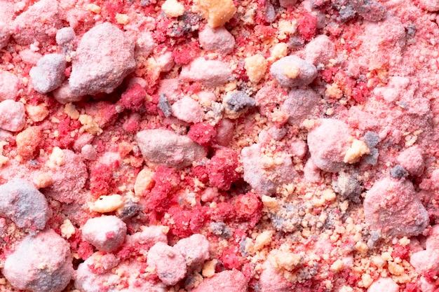 Vista superior da cor em pó com pedras