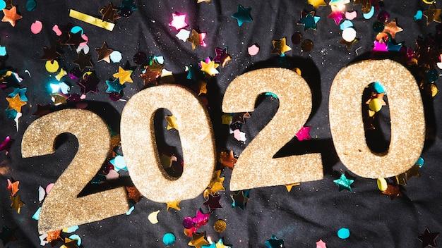 Vista superior da data do ano novo em números
