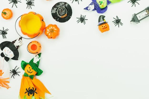 Vista superior da decoração de halloween